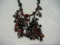 Warehouse 30s Style 3 Row Red Black Glass Bead Flapper Necklace New!