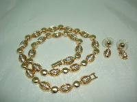 1980s Quality Crystal Diamante Gold Necklace & Earrings
