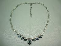 Vintage 50s Quality Sapphire Blue & Clear Diamante Necklace