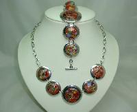 Fabulous Chunky Red Murano Glass Circles Silver Necklace and Bracelet