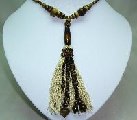 Vintage Art Deco Brown Amber Glass Bead FlapperTassel Sautoir Necklace