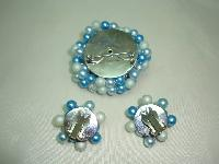 1950s Teal Blue Pearl Crystal Bead Diamante Brooch and Clip Earrings