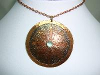 1960s Signed Moda Designer Large Copper Flower Pendant and Earrings