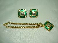 Vintage 1980s Fab Green Enamel and Gold Earrings and Bracelet Set