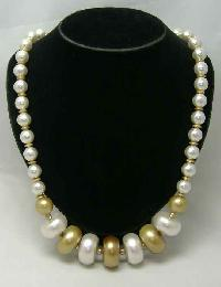 Vintage 50s Chunky Gold White Faux Pearl Bead Necklace